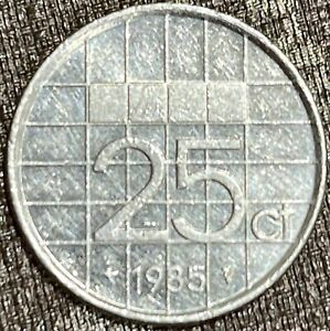 1985 Netherlands 25 Cents/Coin KM # 204