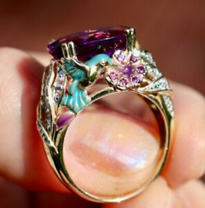 14K 585 SOLID YELLOW GOLD BLUE ENAMELED HUMMINGBIRD AMETHYST SWEET RING SIZE 7
