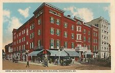 Hotel Hamilton and First National Bank Building in Hagerstown MD Postcard