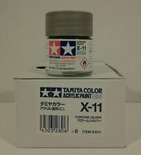 Tamiya acrylic paint. X-11 Chrome silver 10ml Mini.