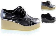 Damenschuhe Keilabsatz Hidden Wedges STERN Freizeitschuhe Glanzoptik Sneakers !!