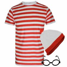 Mens Boys Red And White Stripe TShirt Glasses Hat Set World Book Week Day Outlet