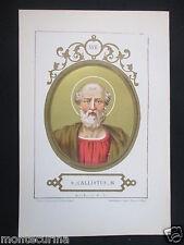 1879 SAN CALISTO I CALLISTUS ANTICA STAMPA CROMOLITOGRAFIA PAPA PAPI POPE D246 m