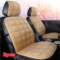 2Pcs Universal Beige Plush Car Seat Cushion Winter Warm Cover Mat Protector