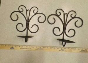"""2 Pc. Metal Wall Sconces Candle Holders,Brown Iron 11"""" x10"""" Pillar or Ball Style"""