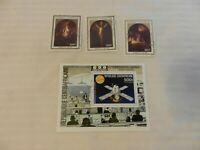Lot of 4 Central Africa Stamps 1976, 1983 Viking Mars Mission, Easter
