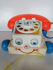 Vintage 1961 Fisher Price Chatter Phone Rotary Telephone Pull Toy plastic