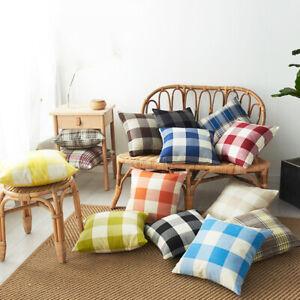18 In Grid Tartan Check Cushion Cover Pillow Case Classic Plaid Sofa Throw Decor