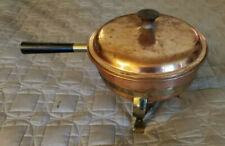 Vintage 4 piece Copper Chafing Dish Double Boiler Pan w Lid & Brass Stand