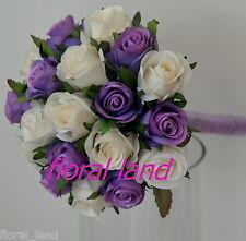 Silk wedding bouquet flower girl posy mauve purple ivory ribbon roses flowers