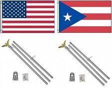 3x5 eeuu. AMERICANA & Puerto Rico Bandera & 2 ALUMINIO Polo Kit SETS 0.9mx5'