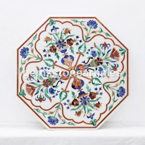 Royal Marble Inlay Table Top (Kalakriti), White Marble Inlay Floral Design Décor