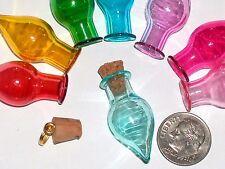 1 Glass Tear potion Bottle vial tube cork pendant charm wicca Aqua Lt Blue NEW