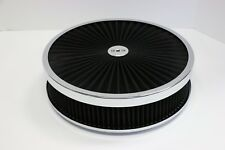 "14"" X 3"" Chrome Round Black High Flow Thru Washable Air Cleaner Drop Base 350"