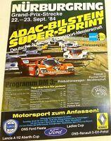 22 23. Sept.84 ADAC BILSTEIN Super Sprint Nürburgring Brochure de Programme Å