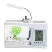USB Desktop Mini Fish Tank Aquarium LCD Timer Clock LED Lamp