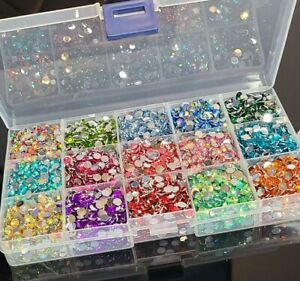 5mm Flatback Resin Rhinestones Multicolor Variety Kit - 15 Grid Case  🇺🇸