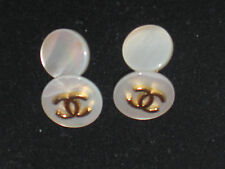 Vintage Chanel Cufflinks - Mother-of-Pearl and Gold Metal, in Chanel Bag