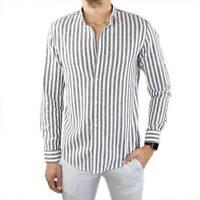 Camicia Uomo in 100% Lino Coreana Slim Fit a Righe Nera Manica Lunga Elegante