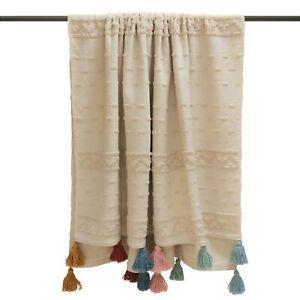 Furn Boho Throw with Multi Coloured  Large Chunky Tassels 130 x 180 cm