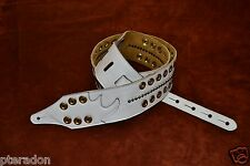 Carlino Custom White Leather and Gold Grommet and Stud Metal Guitar Strap