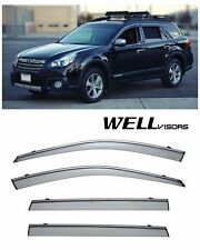 For 10-14 Subaru Outback WellVisors Side Window Deflectors Visors W/Chrome Trim