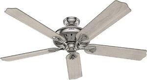 """Hunter Fan Company 60"""" 51120 Br Nickle Ceiling Fan + Lt Grey Oak, remote control"""