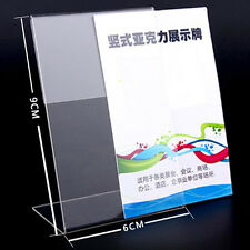 10pcs Clear 6x9cm L Shape Acrylic Table Sign Price Tag Label Paper Card Holder