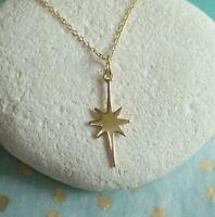 Sterling Silver Gold Vermeil Celestial Star Pendant Necklace - UK Seller