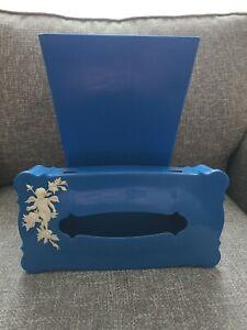 Vintage Tissue Box Holder Blue Plastic Schwartz Bros With Matching Garbage Can