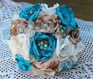 Turquoise, Tan, and White Satin Fabric Bouquet, Brooch bouquet, Vintage, Satin,