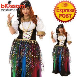 CA1372 Gypsy Moon Fortune Teller Women Circus Mystic Halloween Plus Size Costume