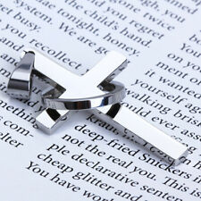 Stainless Steel Smooth Cross Crucifix Ring Christian Charm Necklace Pendant