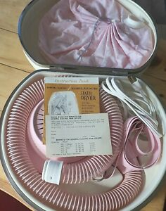 Vintage 60s General Electric Home Hair Dryer In Case  Instructions Pink Bonnet