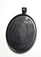 Large plain black setting oval pendant blank bezel fits 30 x 40 mm cabochon