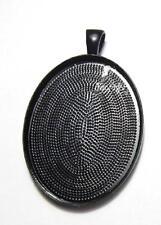 Large plain black setting oval pendant blank bezel fits 30 x 40 mm cabochon