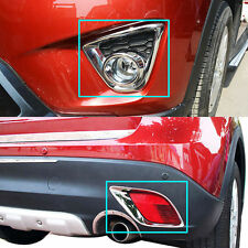 FIT FOR MAZDA CX-5 CX5 CHROME FRONT FOG LIGHT & REAR BUMPER LAMP COVER TRIM 2013
