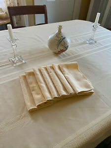 "Pale Yellow Gold Tablecloth 60 x 100"" + 7 Napkins, Polyester, Basketweave Decor"