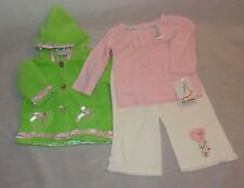 New Baby Girl Coat Shirt Pants Set Outfit Size 6-9 Months B.T. Kids Green Pink