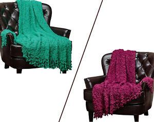 "Chanasya Woven Throw Blanket Super Soft Popcorn 50""x60"" w/Ball Fringe"