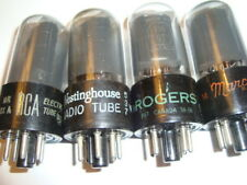 A Matched Quad 6V6GT Smoked Glass, Black Plate Tubes, By RCA, For Rogers, etc