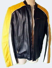 Yellow black racing stripe leather jacket coat L cafe motorcycle perforated mod
