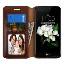 BROWN WALLET LEATHER COVER CASE + GLASS SCREEN for Samsung Galaxy Amp Prime 2