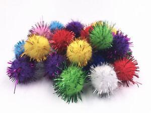 100Fluffy Craft PomPoms Balls Mixed Colours Pom  Poms xmas tinsel festive1-3.5cm