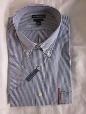 New $36.00 - CROFT & BARROW Quality Men Navy/W Stripe Shirt  Size: M 15 1/2-16