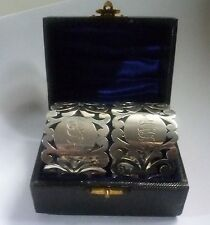 Edwardian boxed Pair of  Sterling Silver Napkin Rings by W.Cooper London 1902