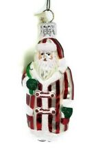 Patricia Breen Santa Clause Christmas Tree Ornament Red White Glitter Striped