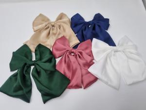 """6"""" Satin Silk Hair Bow Big Large Barette Bow Hair Clip Pin"""