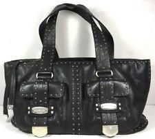 eea39de862a043 Michael Kors Soft Black Leather Satchel Shoulder Bag Silvertone HW