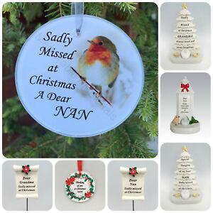 Nan Christmas Memorial Tributes - Xmas Tree Robin Bauble Candle Book Plaque